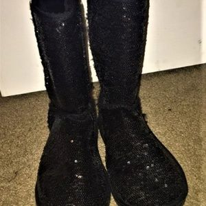 85b8e94b238 Black Sequin Ugg Style Boots from Wet Seal SZ. 9